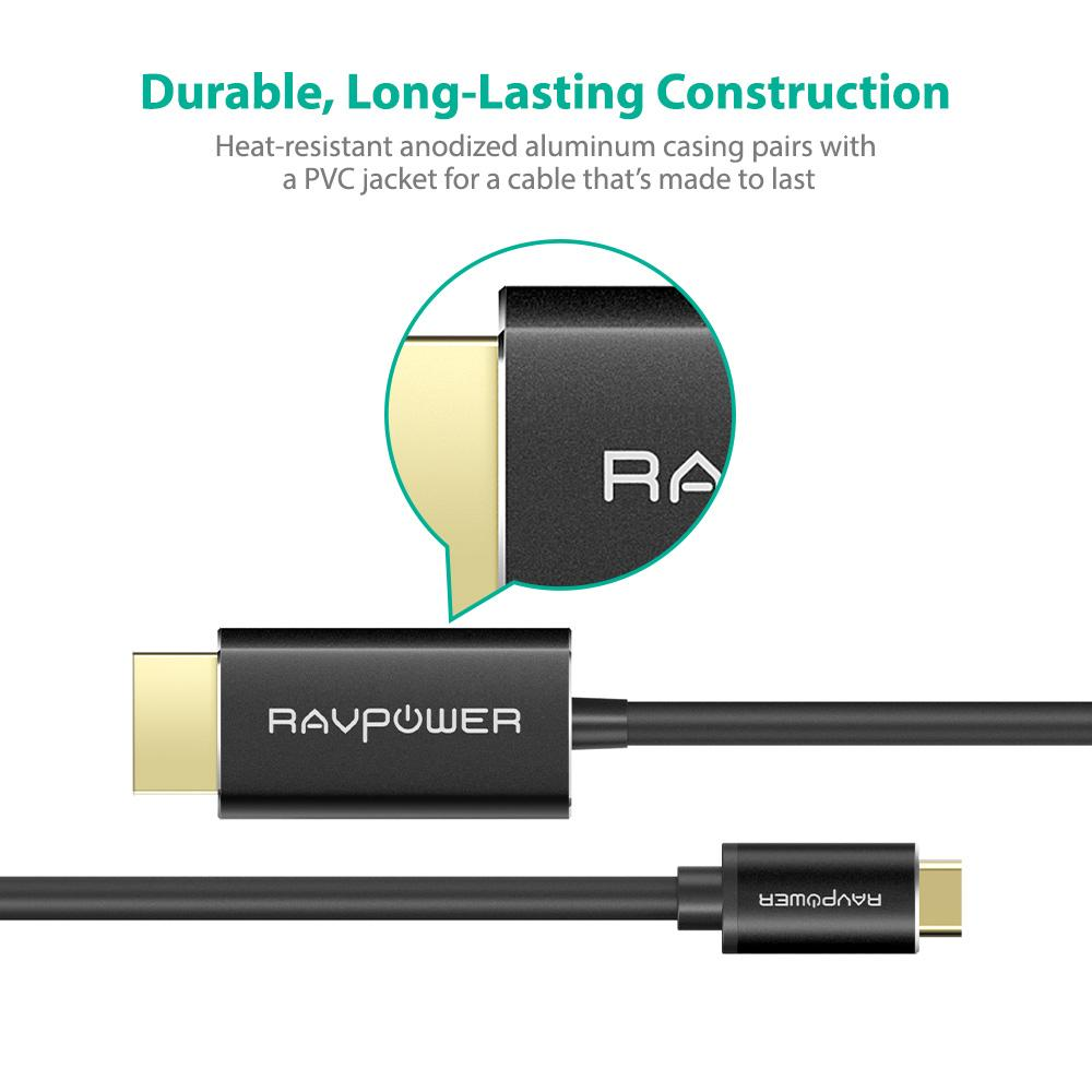 Type-C to HDMI Cable, Dual 4K 60Hz Capability BY RAVPower RP-CB006