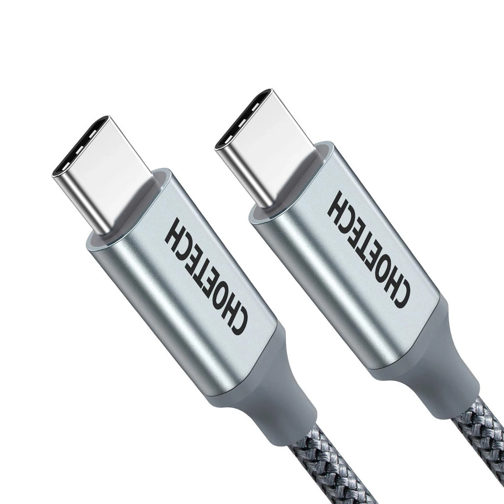 100W USB Type C 6.6Ft Braided Fast Charging Cable 2 Pack CHOETECH  XCC-1002-GY