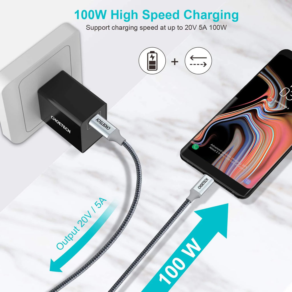 100W USB Type-C 6 Ft Braided Fast Charging Cable CHOETECH  XCC-1002-GY