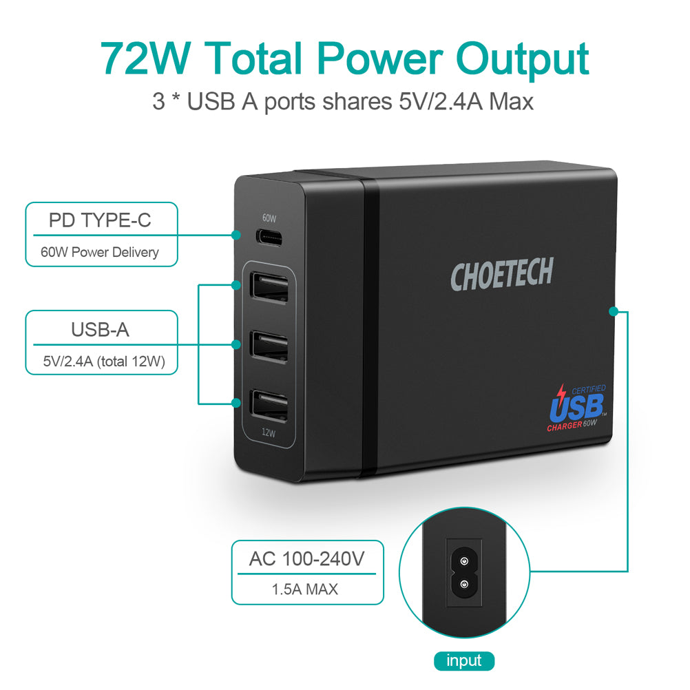 72 Watts Power Delivery Charger Multi USB Charging PD72 by Choetech