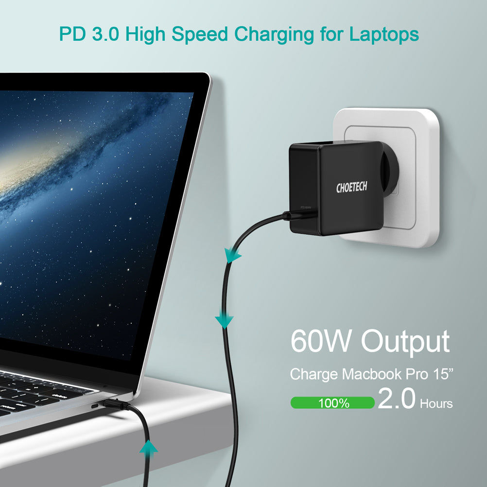 60W PD 3.0 Type C Fast Charging Foldable Adapter USB C Charger Q4004 by Choetech