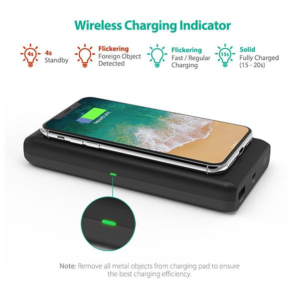 10W Qi-Certified Fast Wireless Charger & Power Bank For The Latest iPhones and Androids by RavPower RP-PB080