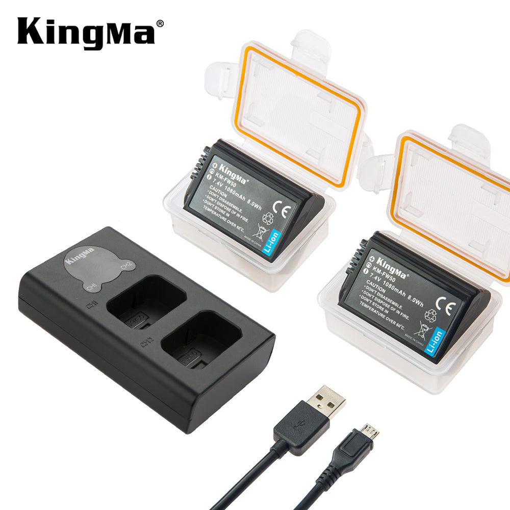 SONY NP-FW50 Battery Set, 2x1080mAh Batt &  Dual Slot Charger with Smart Display KingMa BM048-FW50