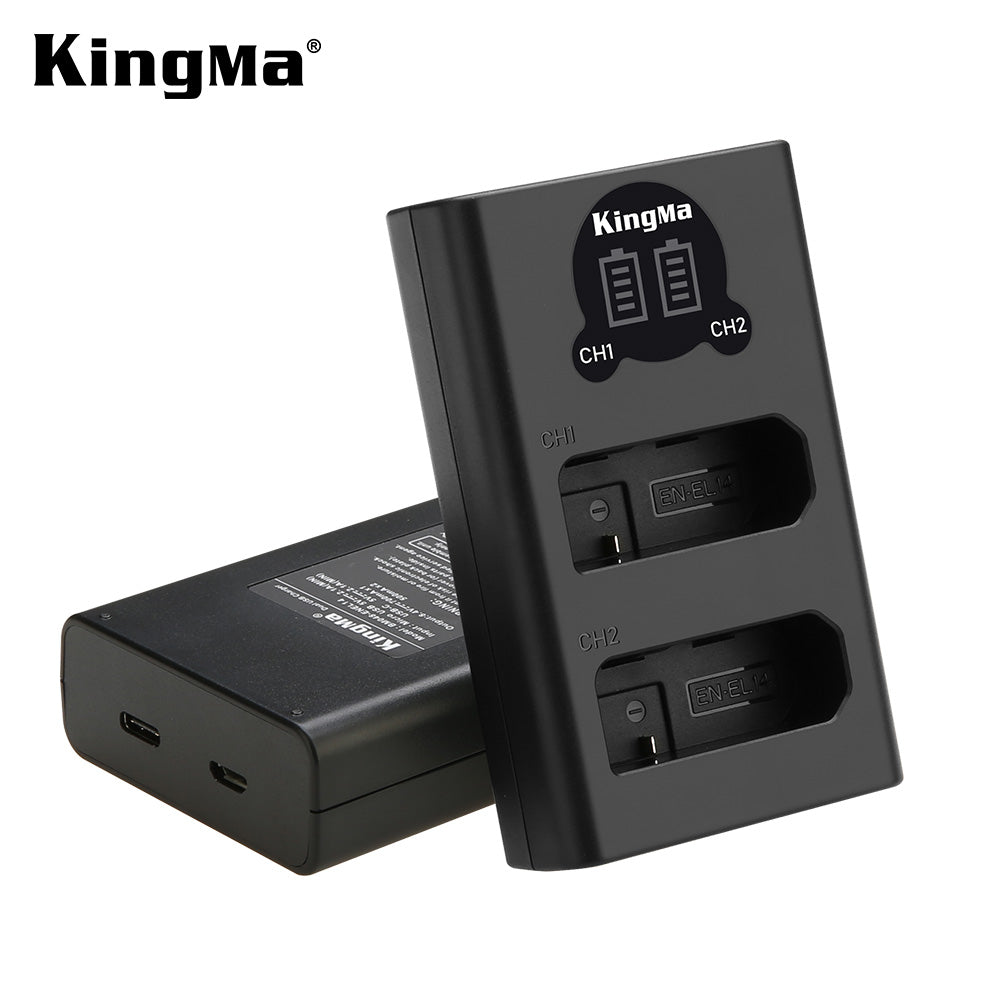 Nikon EN-EL14 Battery Charger Kit, 2x1030mAh Batt. & Dual Slot Smart Display Charger KingMa BM048-ENEL14