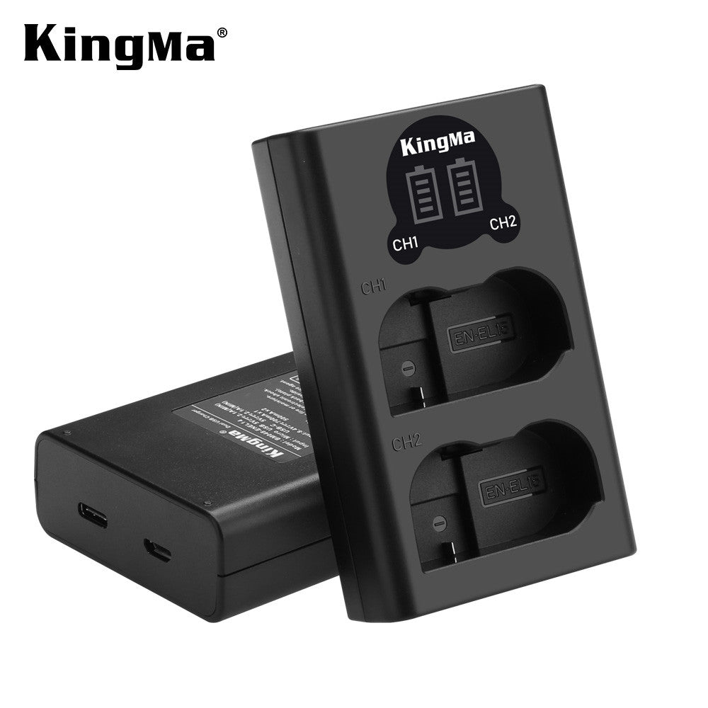 Nikon EN-EL15 Battery Charger Kit, 2x1960mAh Batt. & Dual Slot Smart Display Charger KingMa BM048-ENEL15