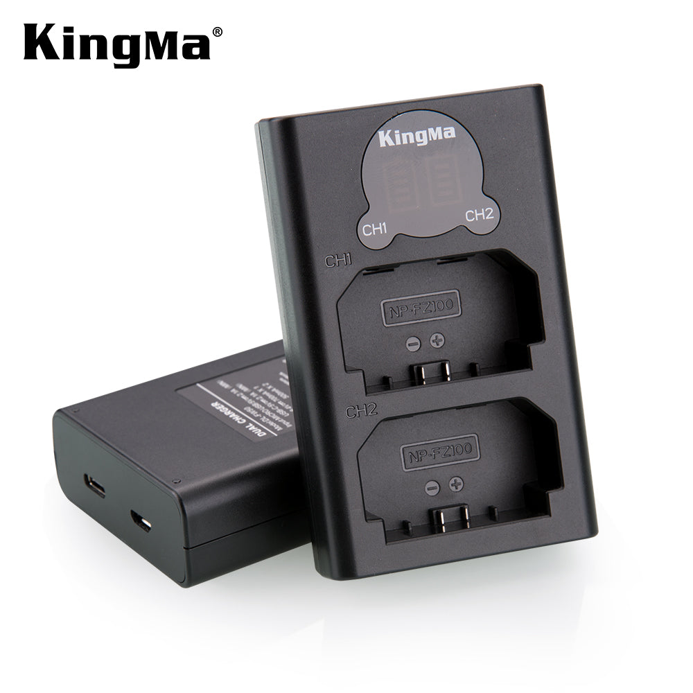 Sony NP-FZ100 Battery Charger Kit, 2x2000mAh Batt.&Dual Slot Smart Display Charger KingMa BM048-FZ100