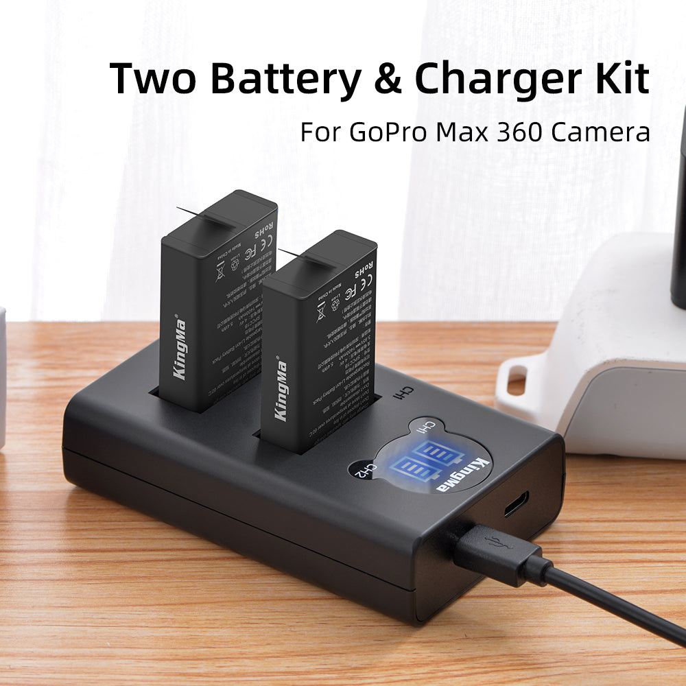 Two GoPro Batteries and Portable Dual Slot Smart LCD Display Charger Set For GoPro Max KingMa BM048-SPCC18