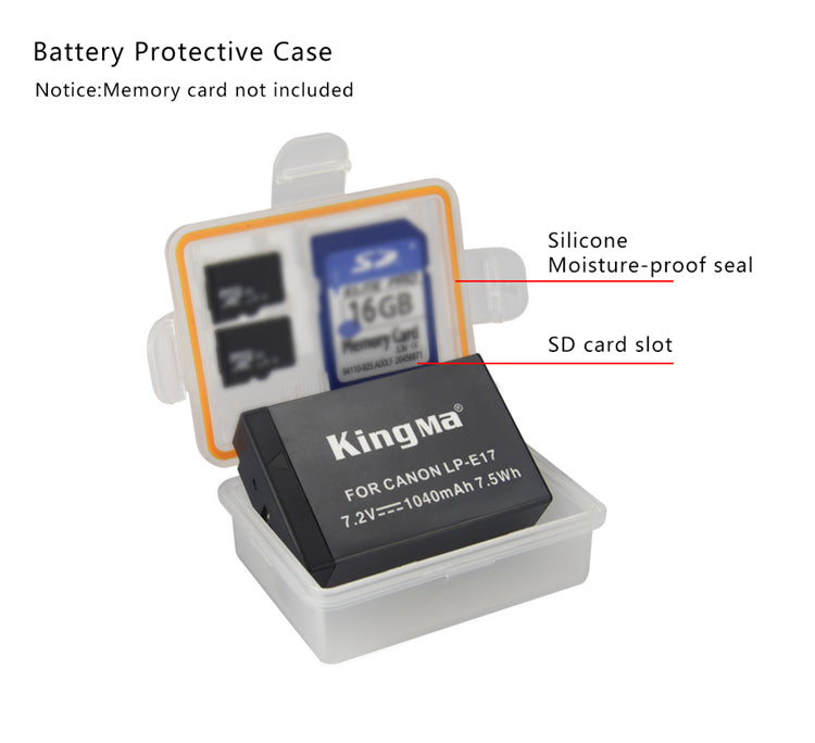 CANON LP-E17 Battery Charger Kit, 2*1040mAh Battery & Dual Smart LCD Display Charger KingMa BM048-LPE17