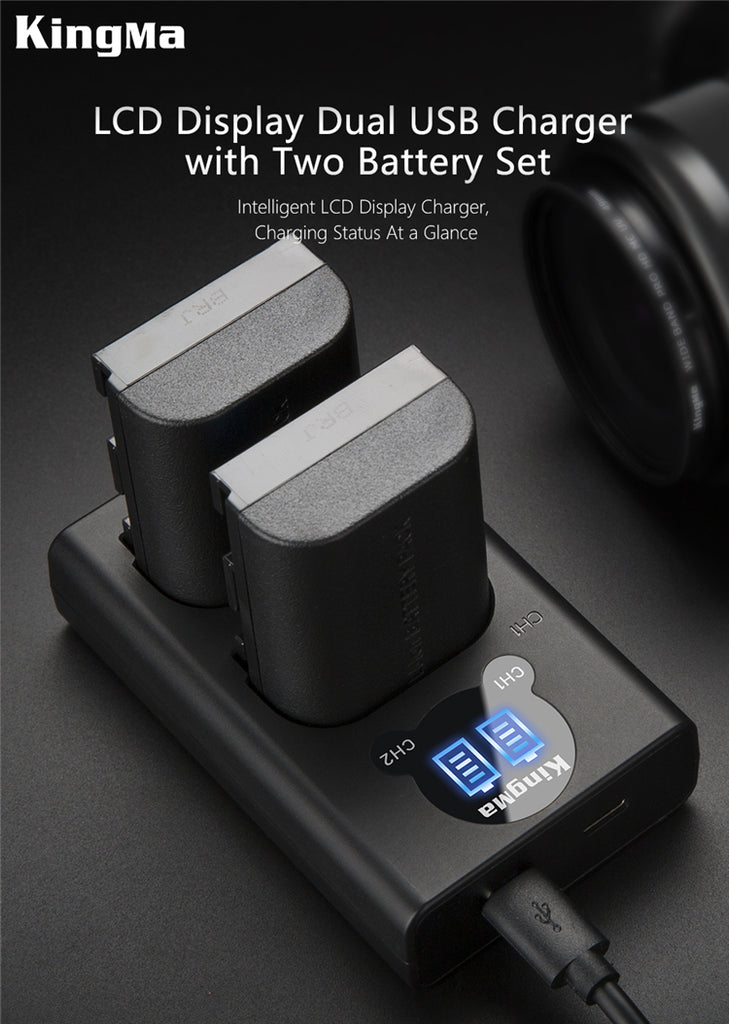 CANON LP-E6  Battery Charger Kit, 2*1960mAh Batt. &  Dual Smart LCD Display Charger KingMa BM048-LPE6