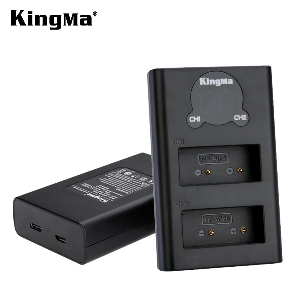 Fujifilm W126 Battery Charger Kit 2*1140mAh Batt. &  Dual Smart LCD Display Charger KingMa BM048-W126