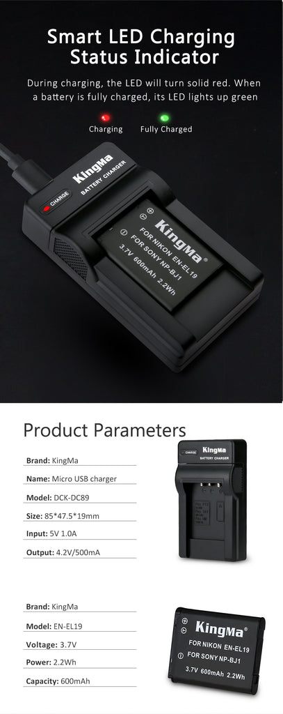 NIKON EN-EL19 Battery Charger Kit, 600mAh Batt. & DC Charger KingMa DC89/ENEL19