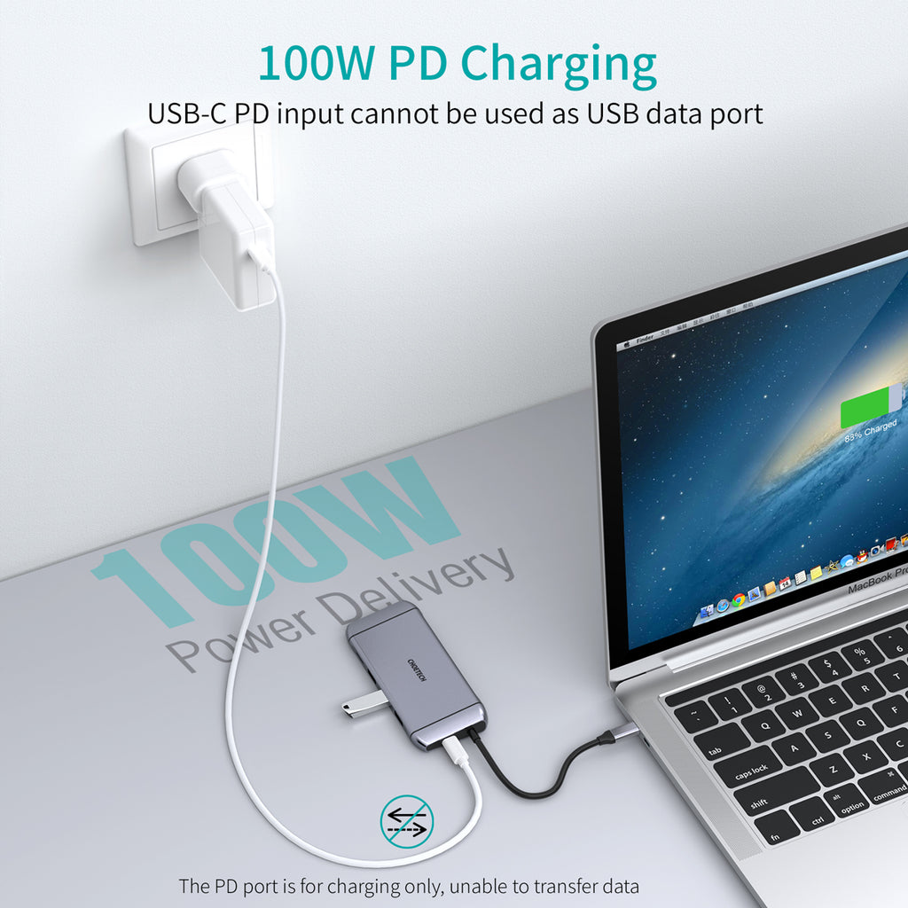 9 in 1 USB C Adapter Hub with 4K HDMI, 100W PD Power,3 USB 3.0, RJ45 Ethernet, 60HZ VGA, SD/TF Card Reader, CHOETECH HUB-M15
