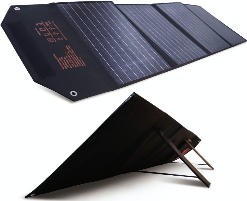 SolarSaga 100W Portable Solar Panel for Explorer 240 and 500 Power Station, Foldable US Solar Cell Solar Charger with USB Outputs for Phones