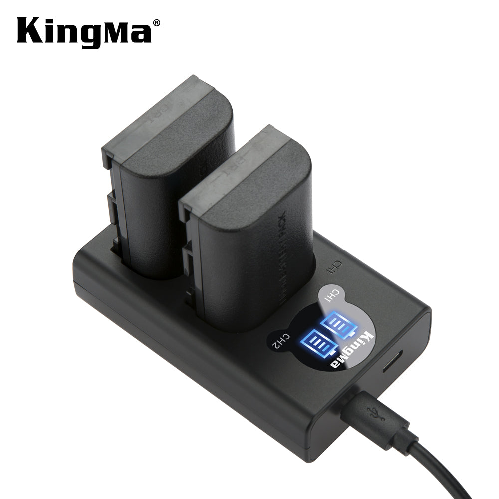 CANON LP-E6(N)  Battery Charger Kit, 2*1960mAh Batt. &  Dual Smart LCD Display Charger KingMa BM048-LPE6