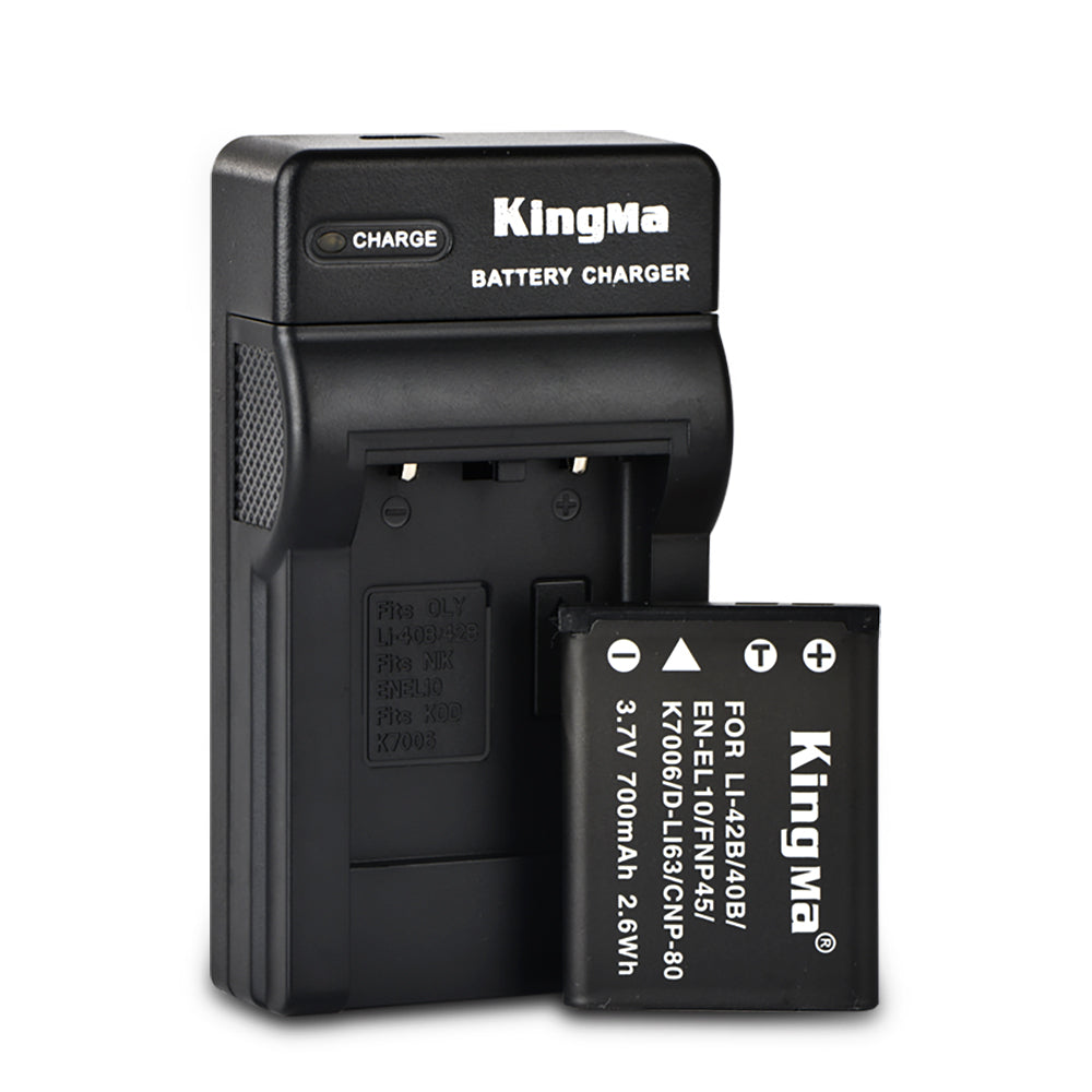 KingMa DC83/NP-45/Li42B Battery Charger Kit for Olympus, Nikon, Fujifilm, Kodak, Pentax and Casio