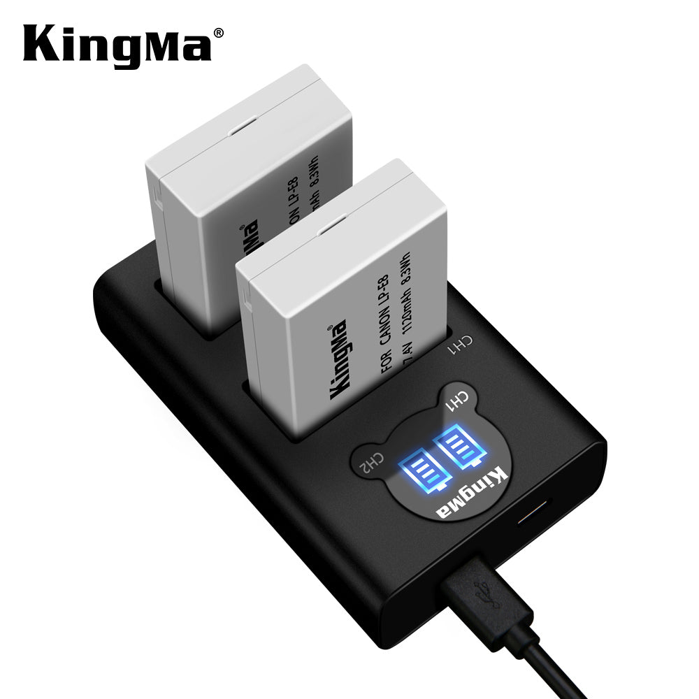 CANON LP-E8 Battery Charger Kit, 2x1120mAh Batt. & Dual Slot Smart Display Charger KingMa BM048-LPE8