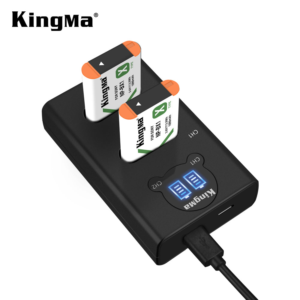 SONY NP-BX1 Battery Charger Kit, 2x1090mAh Batt. & Dual Slot Smart Display Charger KingMa BM048 - NPBX1