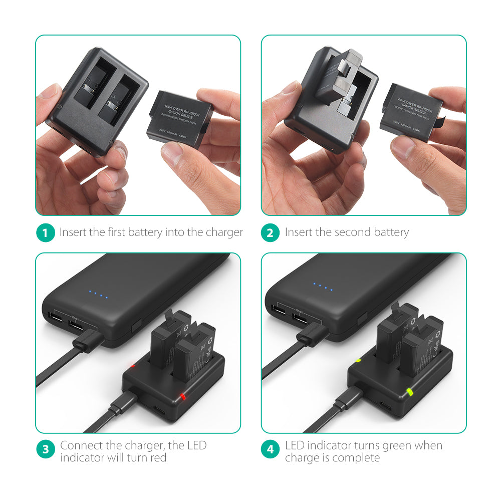GOPRO HERO 5/6/7 Black Edition Portable Dual Slot Charger by RAVPOWER