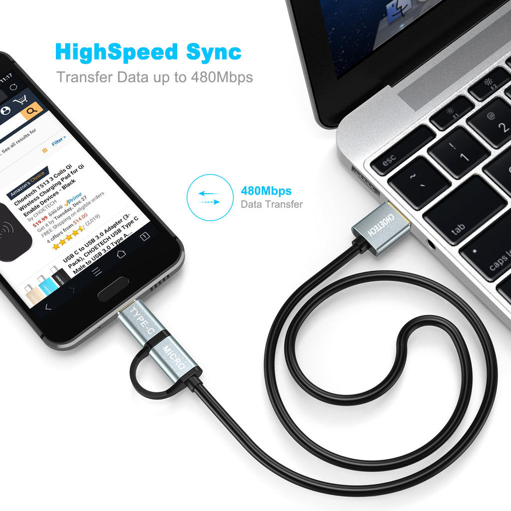 2 in 1 USB-A to Type-C + Micro USB Cable 1.2m CHOETECH (XAC-0012-102BK)