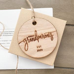 great grandparents Est 2020 ornament - wood