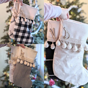 Stocking letter ornaments - birch wood