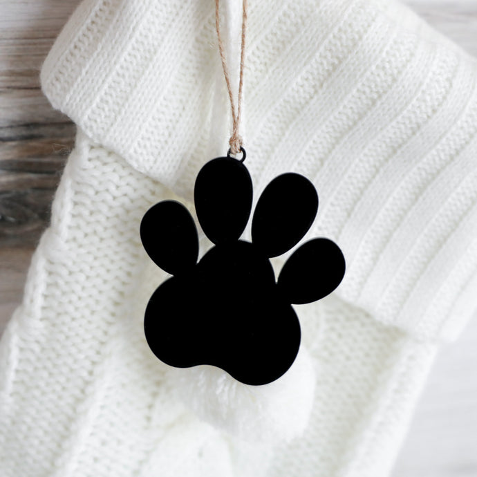 Acrylic Paw + Twine Ornament & Stocking Tag