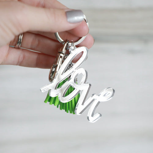 Mirrored Love Keychain with Mini Tassels