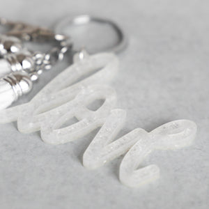 White Glitter Flake Love Keychain with Mini Tassels