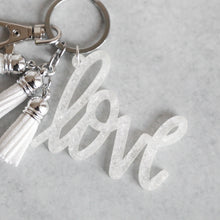 Load image into Gallery viewer, White Glitter Flake Love Keychain with Mini Tassels