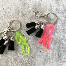 Load image into Gallery viewer, Neon Initial Letter Keychain with Mini Tassels