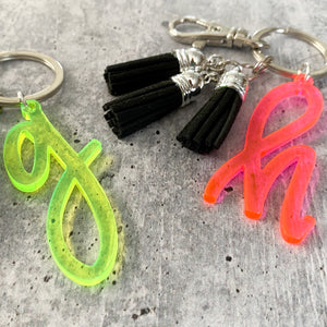 Neon Initial Letter Keychain with Mini Tassels