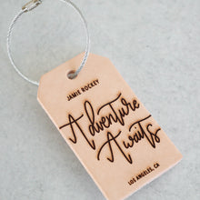 Load image into Gallery viewer, Adventure Awaits | Custom Leather Luggage Tag