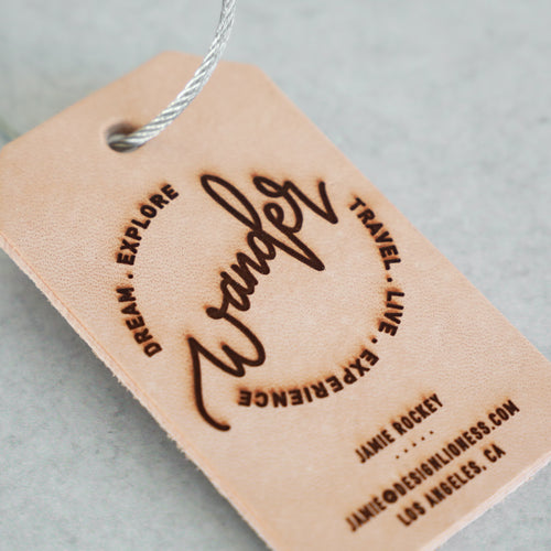 Wander | Custom Leather Luggage Tag