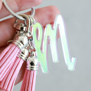 Colorful Initial Letter Keychain with Mini Tassels