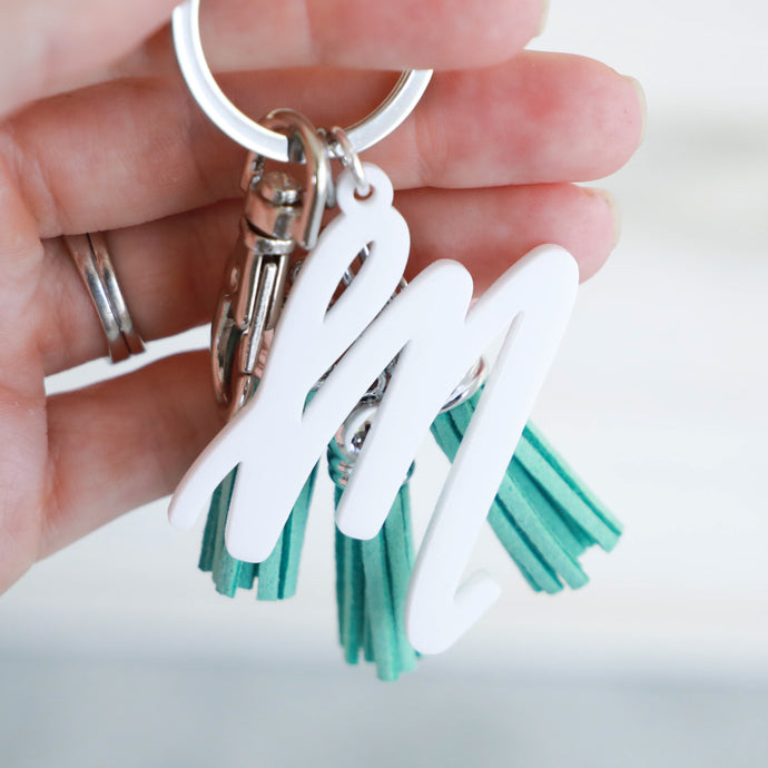 White Individual Letter Keychain with Mini Tassels