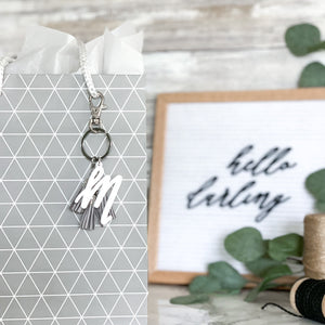 Classic Initial Letter Keychain with Mini Tassels