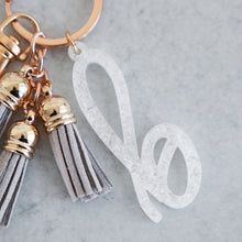 Load image into Gallery viewer, White Glitter Flake Individual Letter Keychain with Mini Tassels