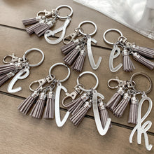 Load image into Gallery viewer, Mirrored Initial Letter Keychain with Mini Tassels