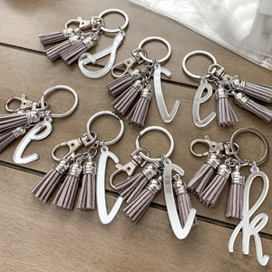 Mirrored Initial Letter Keychain with Mini Tassels