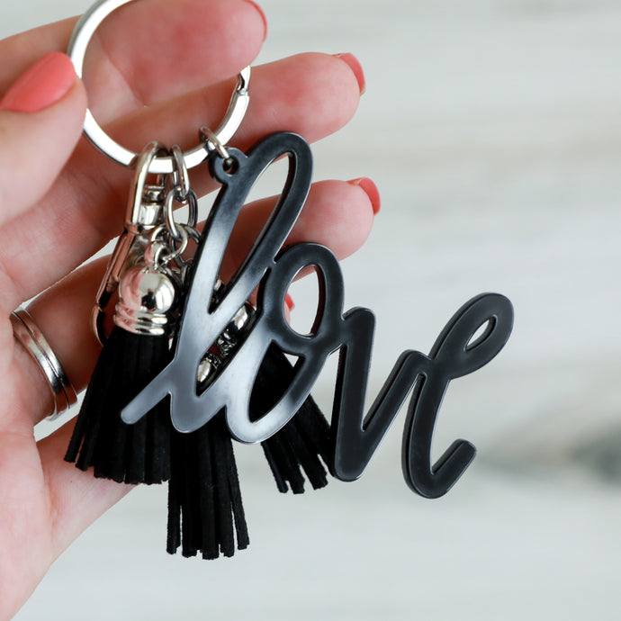 Black Love Keychain with Mini Tassels