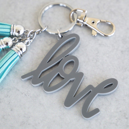 Grey Love Keychain with Mini Tassels