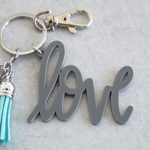 Load image into Gallery viewer, Grey Love Keychain with Mini Tassels