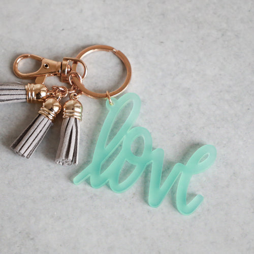 Frosted Seafoam Love Keychain with Mini Tassels