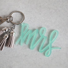 Load image into Gallery viewer, Iridescent Mrs Keychain with Mini Tassels