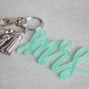 Iridescent Mrs Keychain with Mini Tassels