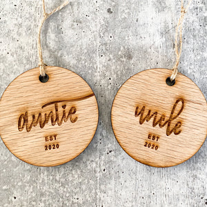 Auntie & Uncle Established 2020 | Christmas Ornament