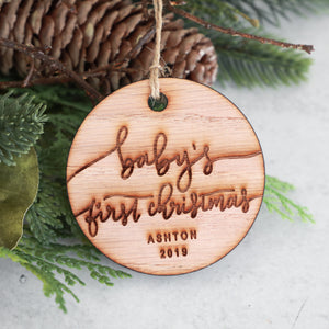 Baby's First Christmas Ornament Wood