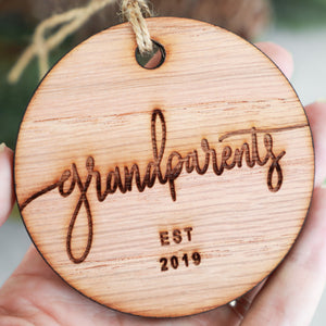 Grandparents Established 2019 Christmas Ornament