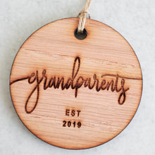 Load image into Gallery viewer, Grandparents Established 2019 Christmas Ornament