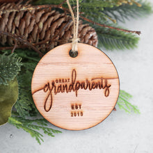 Load image into Gallery viewer, Great Grandparents Established 2019 Christmas Ornament